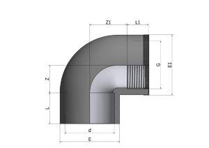 EL57-1-300x212 Угол 90° переходной с кольцом внутренняя резьба ПВХ COMER