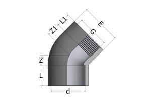 EY52-1-300x212 Угол переходной c внутренней резьбой 45° ПВХ COMER