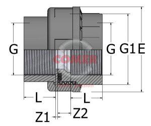 UN81-1-300x251 Муфта разборная с внутренней резьбой ПВХ COMER