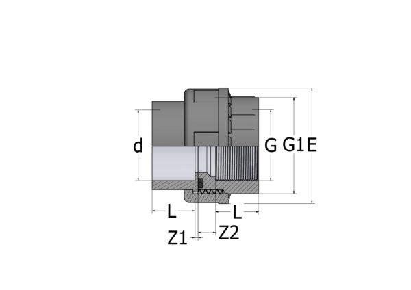 UN82-1 Муфта разборная переходная с внутренней резьбой ПВХ COMER