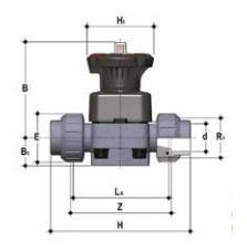 Membrannyi- Мембранный клапан с муфтовым окончанием ПВХ FIP